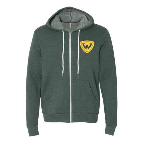 Wayne State Primary Logo Full Zip Hoodie - Heather Forest