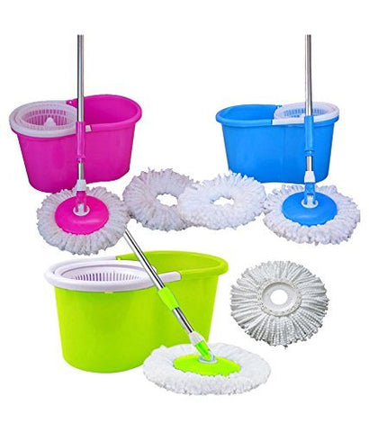 Best Homes 360° Spin Floor Cleaning Easy Magic Plastic Bucket Mop with 2 Microfiber Heads(Color May Vary) - diabazaar.com