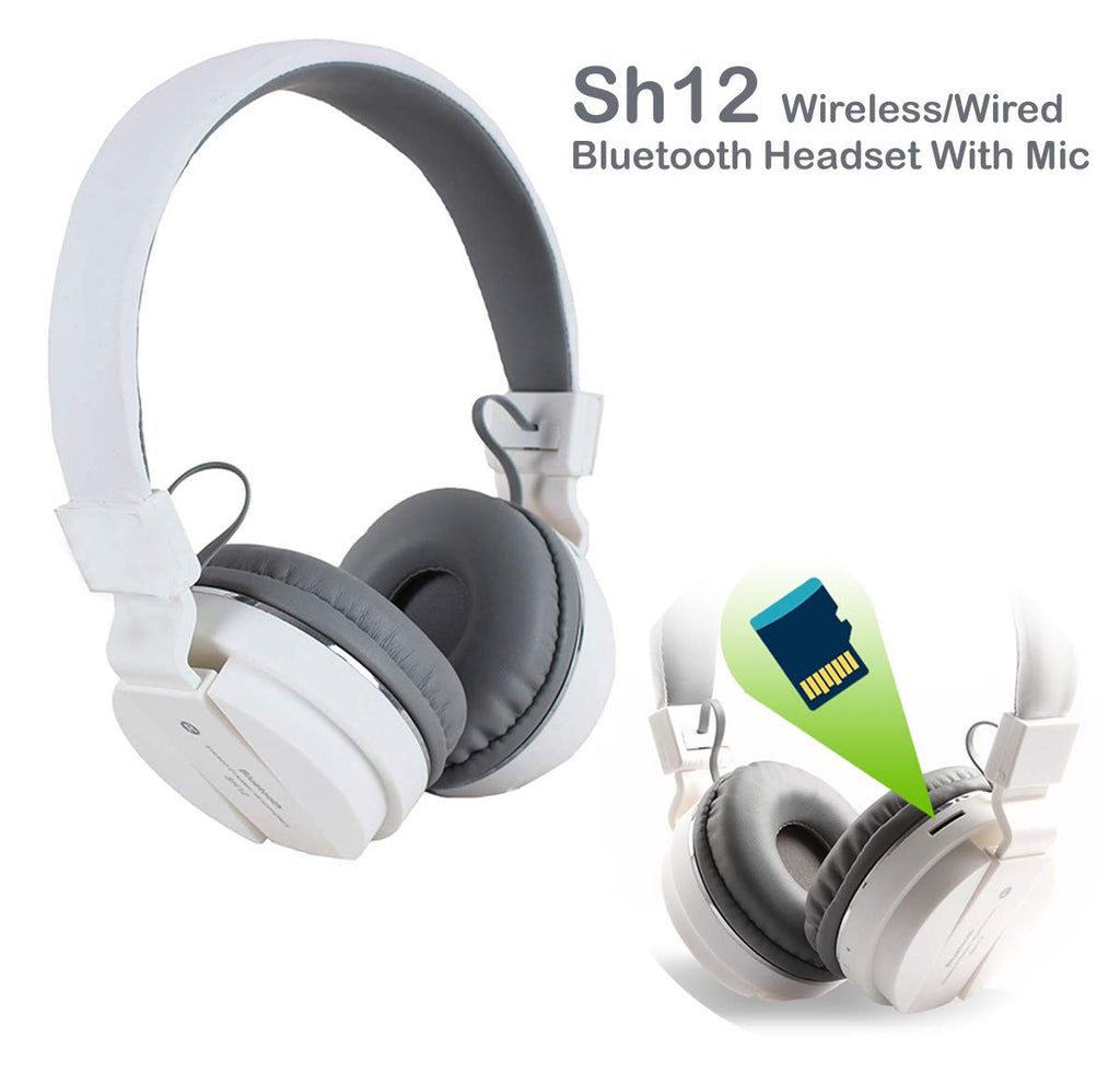 SH-12 wireless headphones stretchable foldable with Bluetooth and inbuilt microphone and SD card slot (colour may vary)