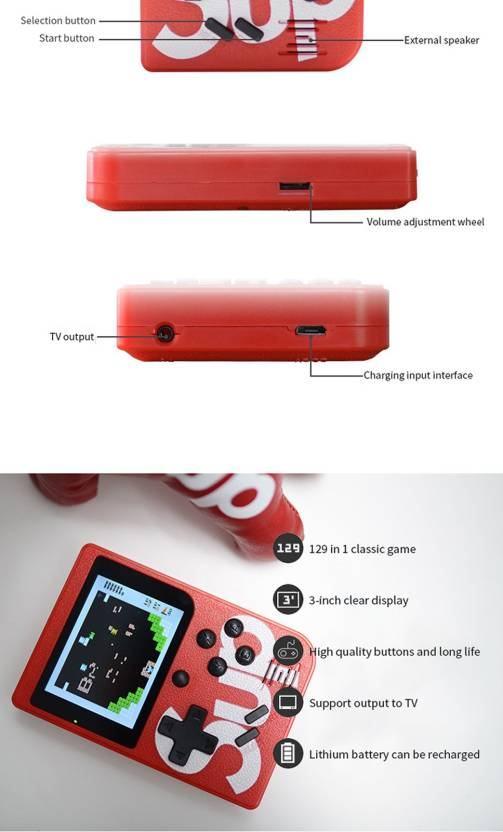 Triangle Ant ™ Best SUP 400 in 1 Retro Game Box Console Handheld Video Game a2 with ideal for Children,adults/8 GB with 8 GB with Mario, Super Mario, DR Mario, Contra, Turtles, and other 400 Games