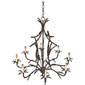 Large Faux Bamboo Tole Chandelier
