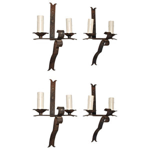 Set of Four Large French 1930 Handmade Wrought Iron Sconces( two are sold )