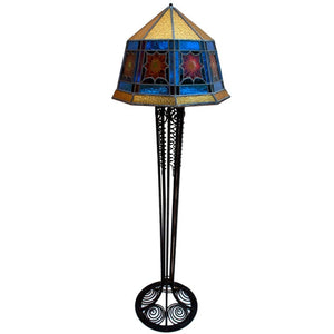 French Art Deco Stain Glass Floor Lamp