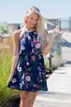 Live A Little Halter Neck Dress : Navy