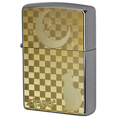 Zippo Lighter Flat Bottom Metal Paint Plate GP 2MP Cat & Moon