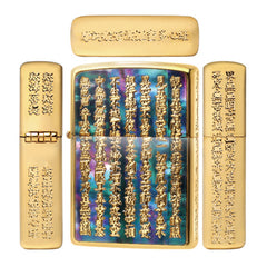 Zippo Lighter Japanese Heart Sutra Gold Shell Inlay Abalone