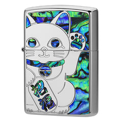 Zippo Lighter Blue Shell Inlay Lucky Cat Maneki-Neko SV