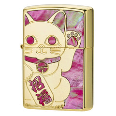 Zippo Lighter Pink Shell Inlay Lucky Cat Maneki-Neko YGR