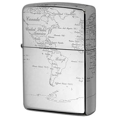 Zippo Lighter World Map 5 sides Design Platinum Plating