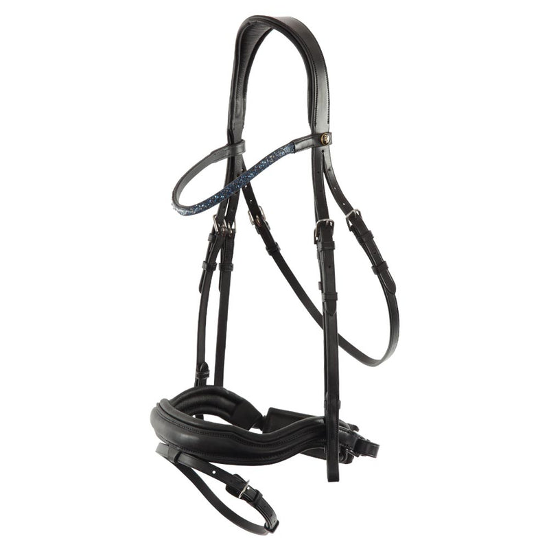 Freedom black shaped plain leather snaffle bridle *without browband*