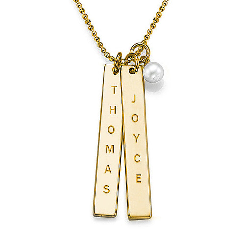 Engraved Vertical Bar Necklace with Pearl Apparel & Accessories > Jewelry > Necklaces - 1