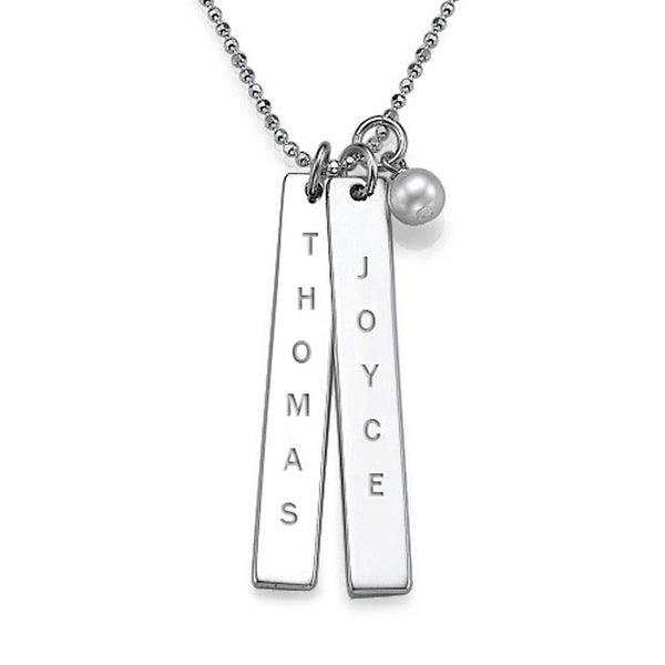Engraved Vertical Bar Necklace with Pearl Apparel & Accessories > Jewelry > Necklaces - 3