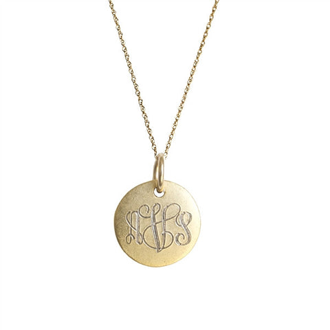 Golden Thread Antiqued Small Gold Filled Disc Initial Necklace Apparel & Accessories > Jewelry > Necklaces
