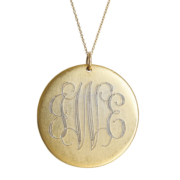 14K Gold Filled Large Engraved Disc Necklace Apparel & Accessories > Jewelry > Necklaces - 1