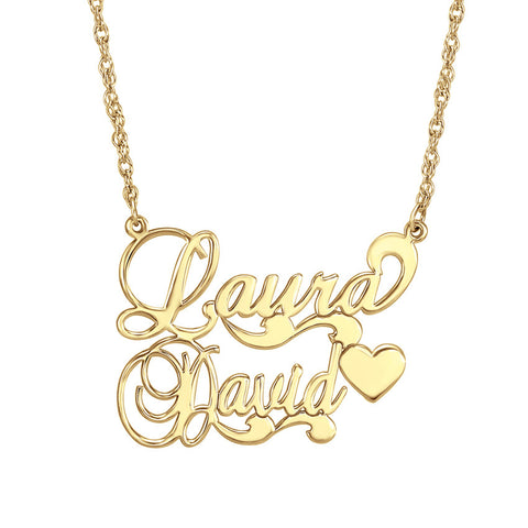 Couples Nameplate Necklace - Scroll Heart Apparel & Accessories > Jewelry > Necklaces - 1
