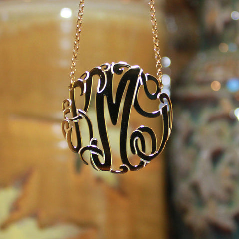 Big Slim Gold Monogram Necklace by Purple Mermaid Designs Apparel & Accessories > Jewelry > Necklaces - 1