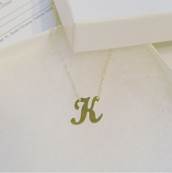 Mixed Metal Initial Necklace Letter K