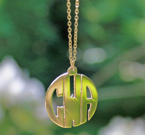 Gold Block Mini Monogram Necklace