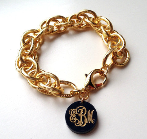 Acrylic Monogram Charm Bracelet by Moon and Lola Apparel & Accessories > Jewelry > Bracelets - 1