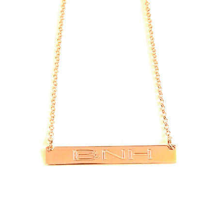 Gold Engraved Horizontal Bar Necklace-Purple Mermaid Designs Apparel & Accessories > Jewelry > Necklaces - 7