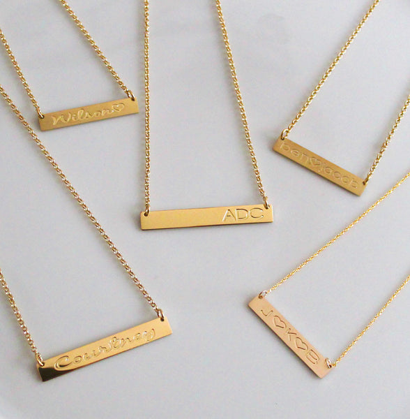 Gold Engraved Horizontal Bar Necklace-Purple Mermaid Designs Apparel & Accessories > Jewelry > Necklaces - 8