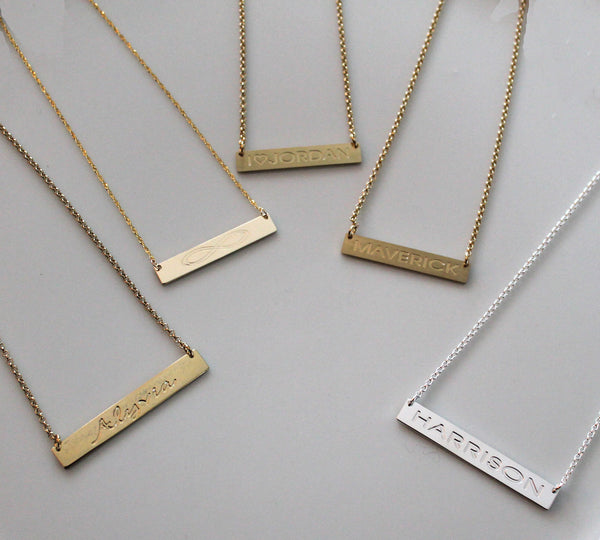 Gold Engraved Horizontal Bar Necklace-Purple Mermaid Designs Apparel & Accessories > Jewelry > Necklaces - 9