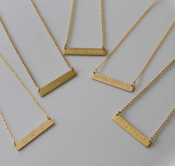 Gold Engraved Horizontal Bar Necklace-Purple Mermaid Designs Apparel & Accessories > Jewelry > Necklaces - 10
