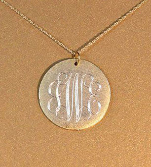 14K Gold Filled Large Engraved Disc Necklace Apparel & Accessories > Jewelry > Necklaces - 3