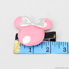 Minnie Bow 2 Clips - Baby Pink & Purple