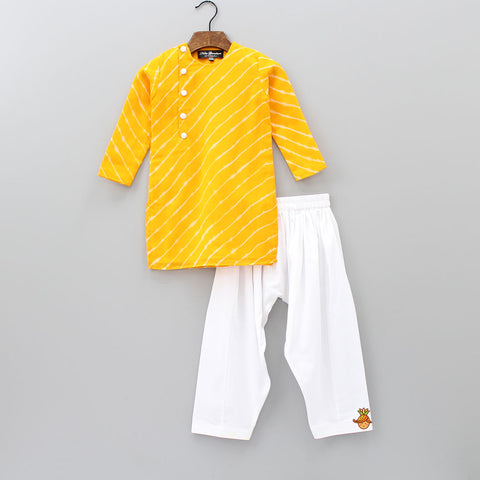 Pre Order: Yellow Leheriya Kurta And White Salwar