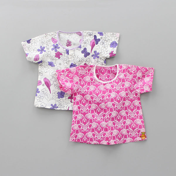 Floral And Elephant Printed Jhablas -  0 - 6 Months