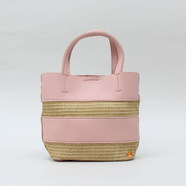 Pink And Beige Strapped Bag