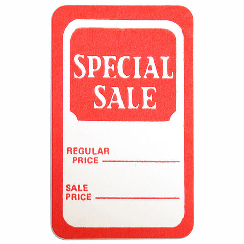 "Tag ""special sale"" regular price/sale price - red/white 1000/box"