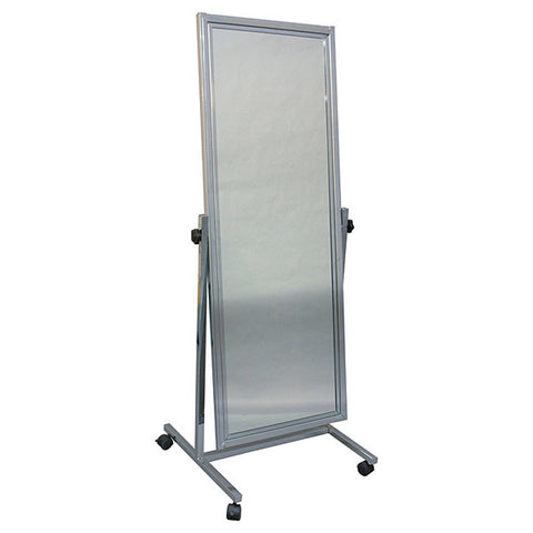 "Adjustable mirror with floor stand & casters - 20""x60"""