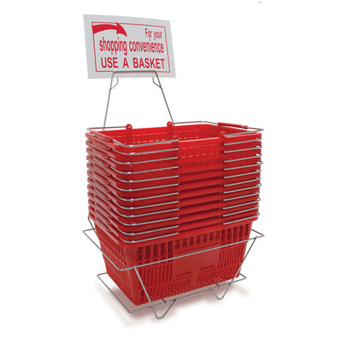Shopping basket set, includes 12 baskets, stand and sign - red