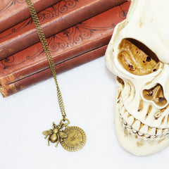 Clock & Bee Steampunk Necklace