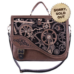Steampunk Handbag | Gothic Handbag | Brown Embroidered Cog and Clockwork Satchel Bag | Gothic Satchel