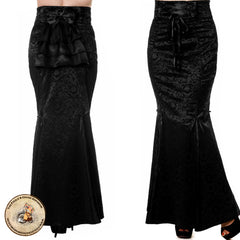 Gothic Fishtail Skirt | Gothic Garden Flocked Long Black Gothic Maxi Skirt | Corset Waistband & Bustle Back