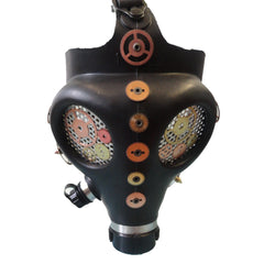 Black Steampunk Gas Mask with Cog Decoration.