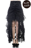 Lace Bustle Skirt | Black Gothic Skirt | Black Waterfall Steampunk Skirt