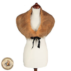 Steampunk Shawl. Victorian Plume Rust Faux Fur Stole. Victorian Fur Collar Steampunk Style