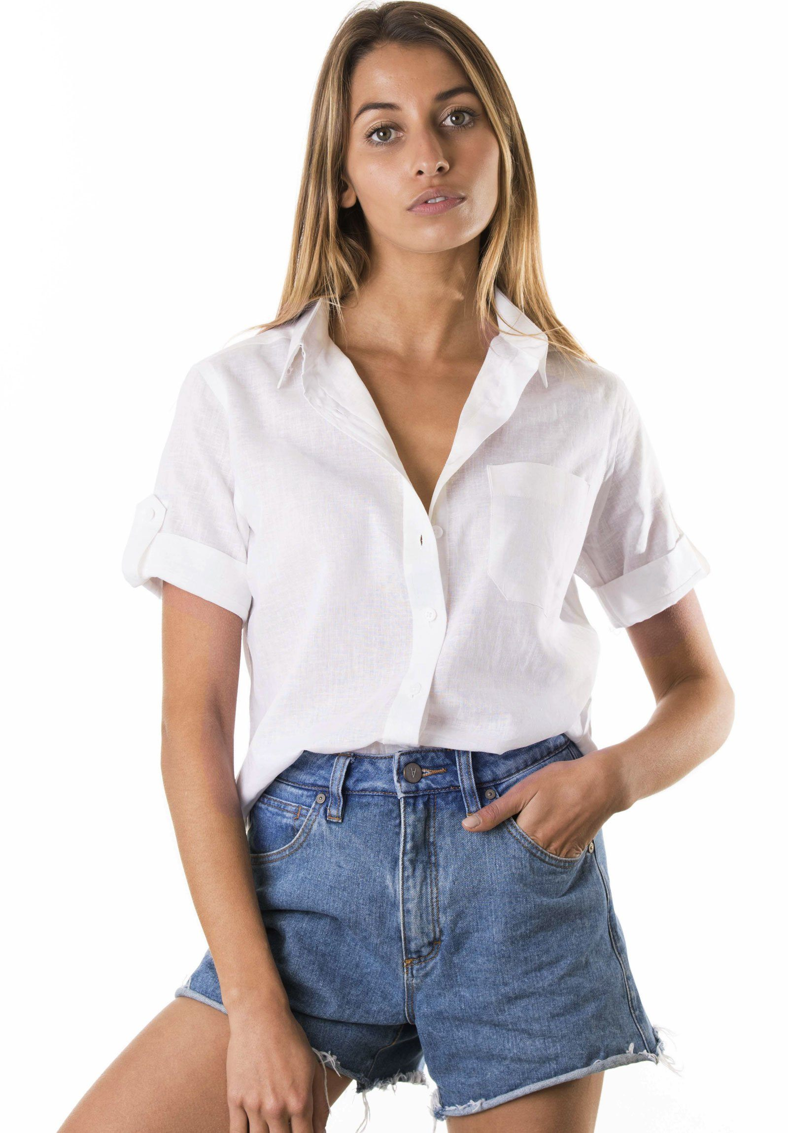 Febe Short Sleeve White, Casual Linen Camp Shirt
