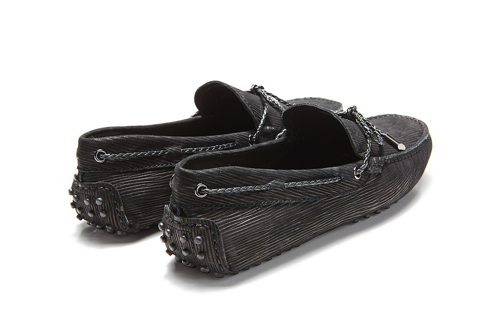 St.Tropez - Black Textured Leather