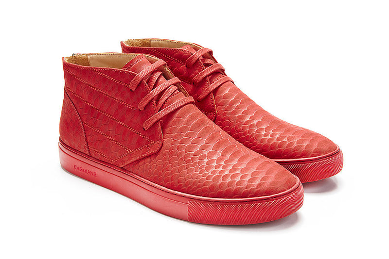 Brooklyn - Matte Vermillion Python Embossed Leather