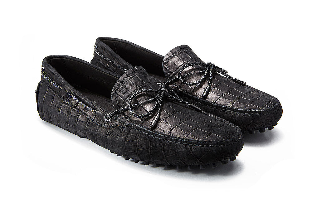St.Tropez - Black Crocodile Embossed Leather