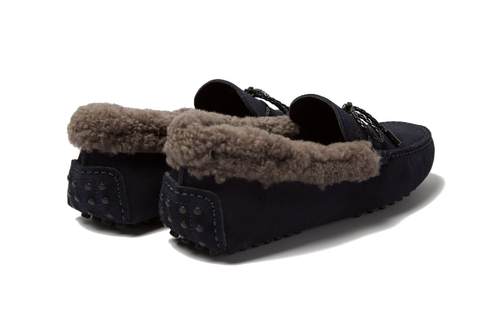 St.Tropez - Navy Suede & Fawn Sheep Wool *LIMITED EDITION*