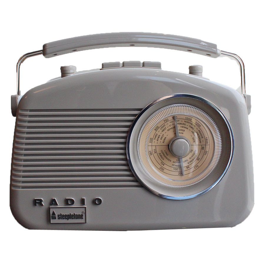 Steepletone Brighton MW-FM-LW Portable Retro Radio - Mocha