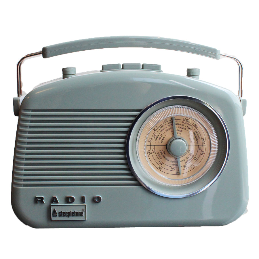 Steepletone Brighton MW-FM-LW Portable Retro Radio - Sage Green