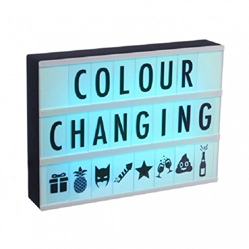 blue A4 Colour Changing Light Box with Cinema Light Box Letters
