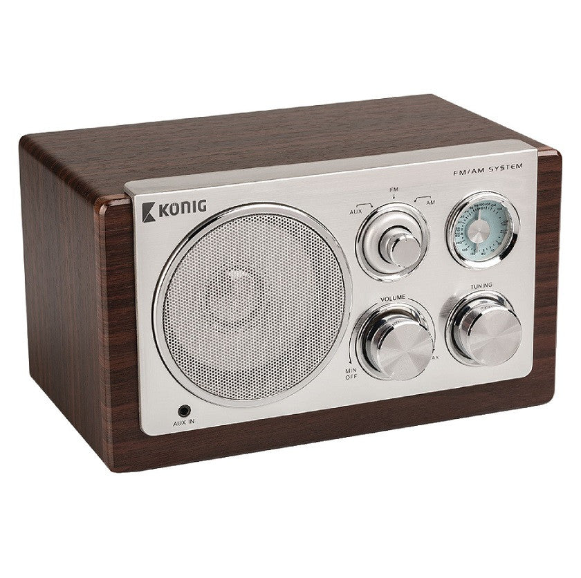 Konig Retro Table Radio AM/FM Dark Wood